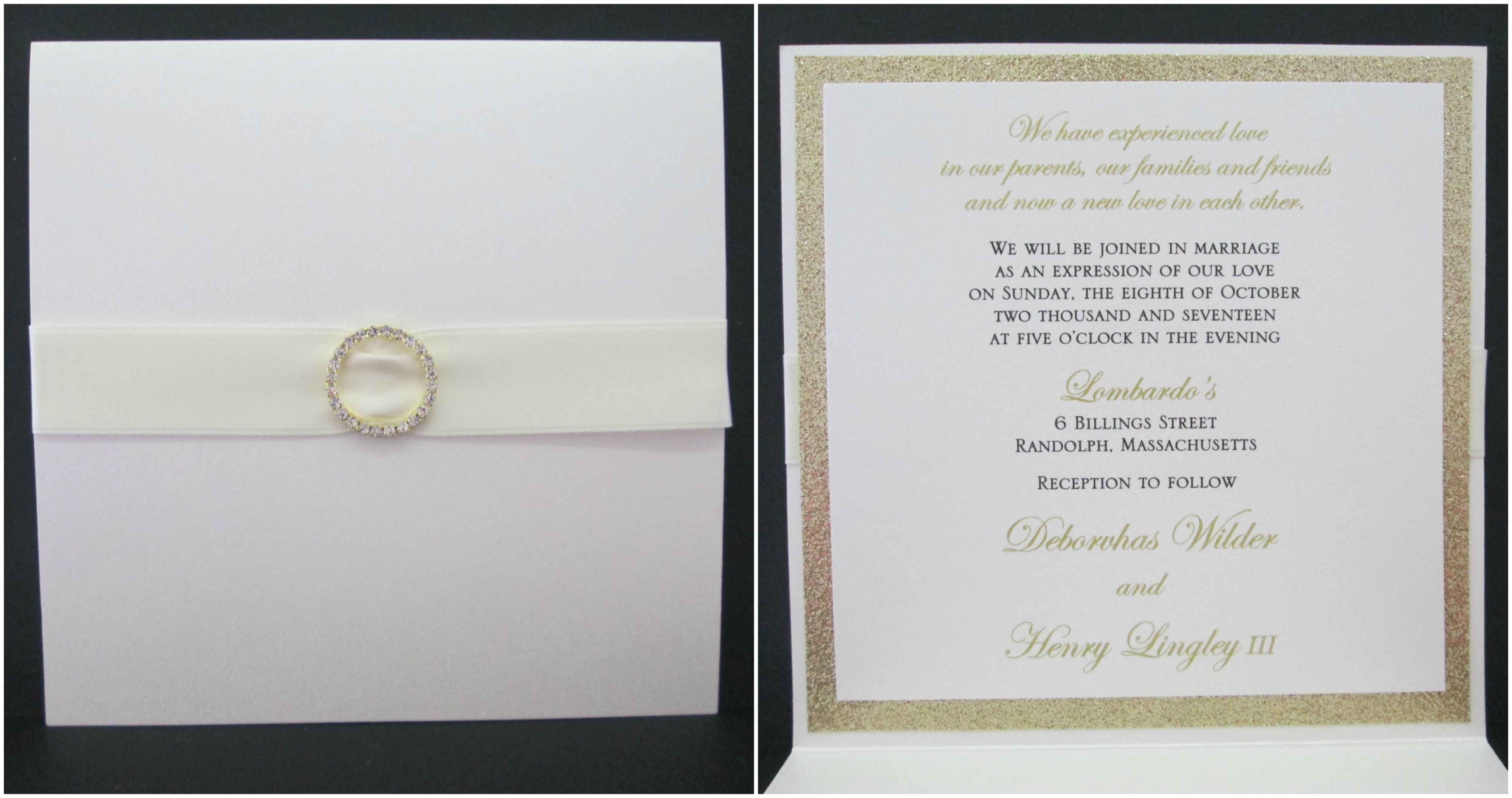 Booklet wedding invitation with ribbon and rhinestone bling ...