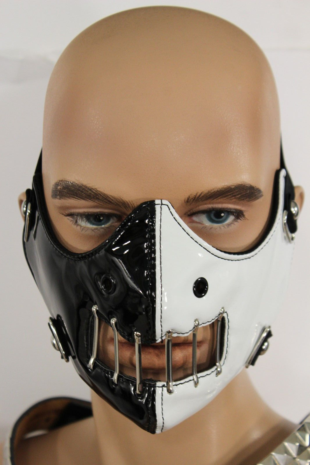 Black White Faux Leather Hannibal Motorcycle Mouth Muzzle S&M Men ...