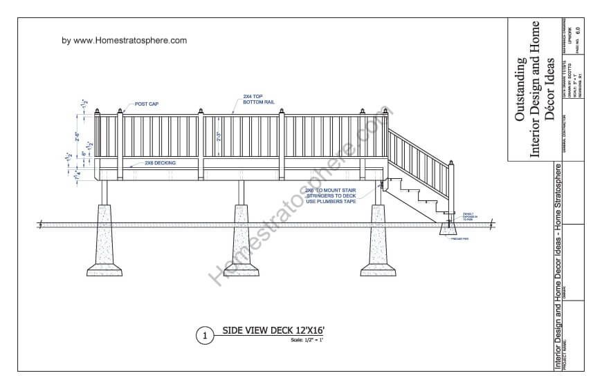 Free 12 X 16 Deck Plan Blueprint With Pdf Document Download Deck Plans Deck Building Plans Deck Stairs