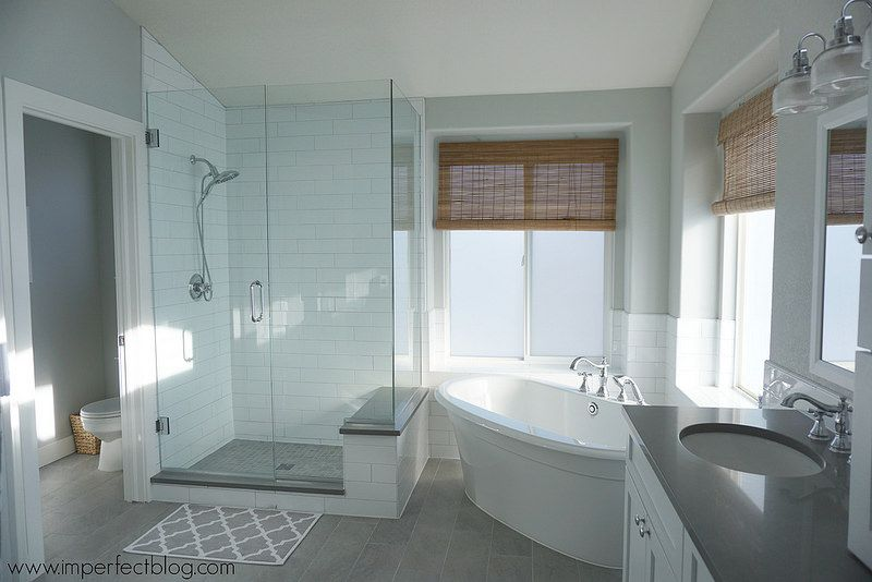 Similar style shower but with regular base and freestanding tub ...