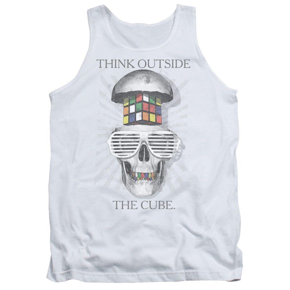 Rubik's Cube Outside the Cube White 100% Cotton Tank-Top T-Shirt