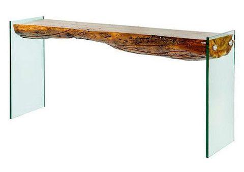 Aparador Em Madeira Com Detalhes Em Vidro Tree Stump Table
