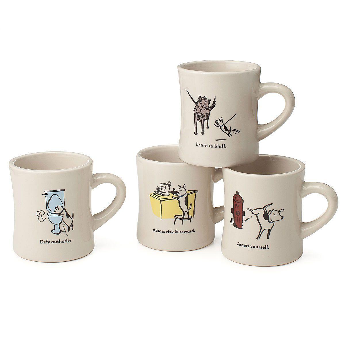 Bad Dog Wisdom Diner Mugs - Set of 4   dog glasses, pet, dog lover gift   UncommonGoods