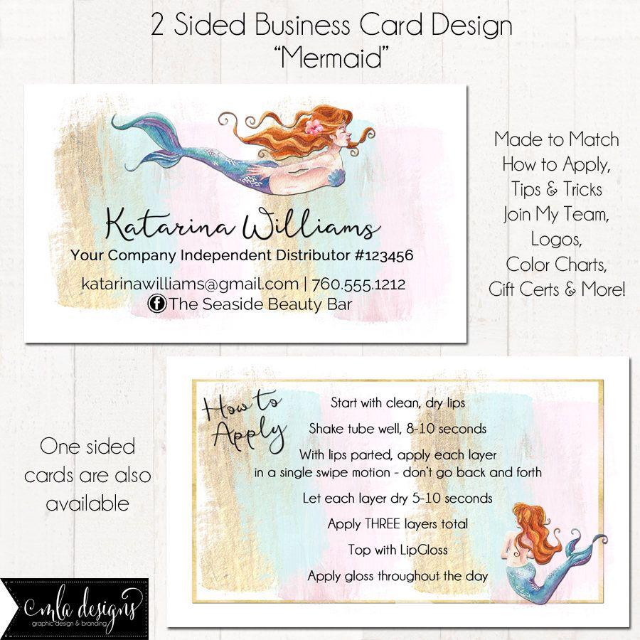 LipGloss Business Card, Makeup Artist Business Card, Mermaid, Custom Business Card, Loyalty Card, Marketing, Branding Materials by MLAdesigns on Etsy https://www.etsy.com/listing/520538758/lipgloss-business-card-makeup-artist