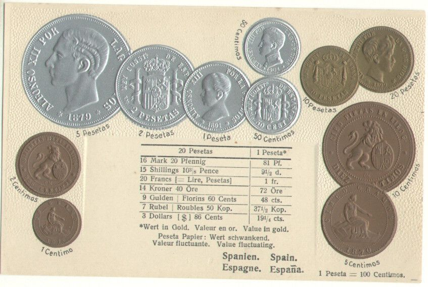 Spain Coins Currency Converter Silver Gold Coin Embossed Old Postcard