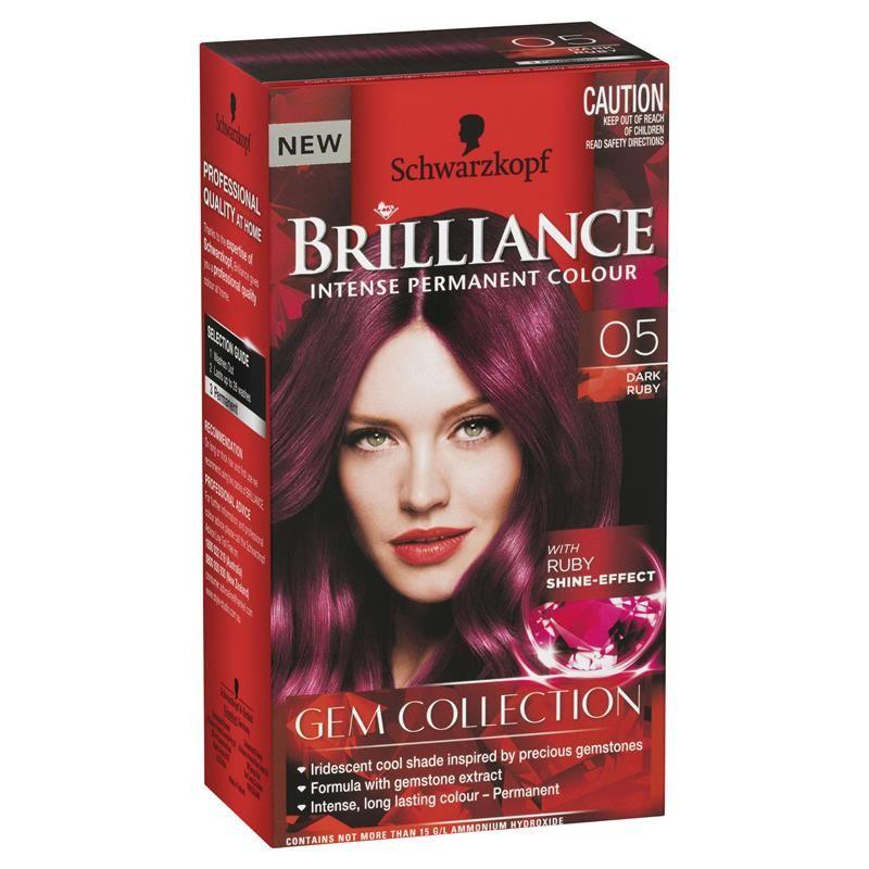 Schwarzkopf Live Brilliance Gem Collection 05 Dark Ruby Red Hair Dye Box Box Hair Dye Schwarzkopf Hair Color