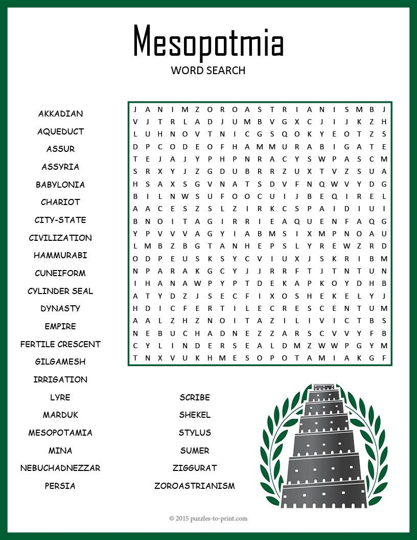 Ancient Mesopotamia Word Search Puzzle Worksheet Activity Mesopotamia Ancient Mesopotamia Ancient World History