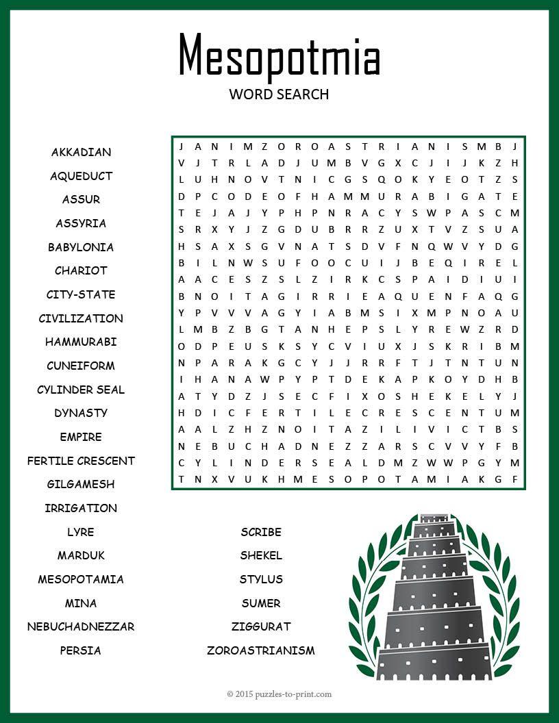 ANCIENT MESOPOTAMIA Word Search Puzzle Worksheet Activity   Mesopotamia [ 1056 x 816 Pixel ]