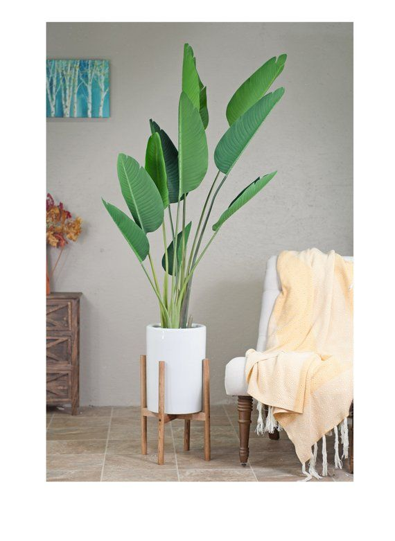 Large Tall Modern Planter With Stand Ceramic Cylinder Pot 10 White Plant Chestnut Mid Centur