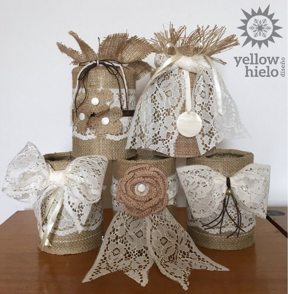 Latas decoradas ideas diy shabby chic vintage reciclar for Mesas decoradas para bodas