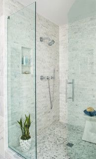 Shower with carrara marble tile bathrooms pinterest carrara shower with carrara marble tile ppazfo