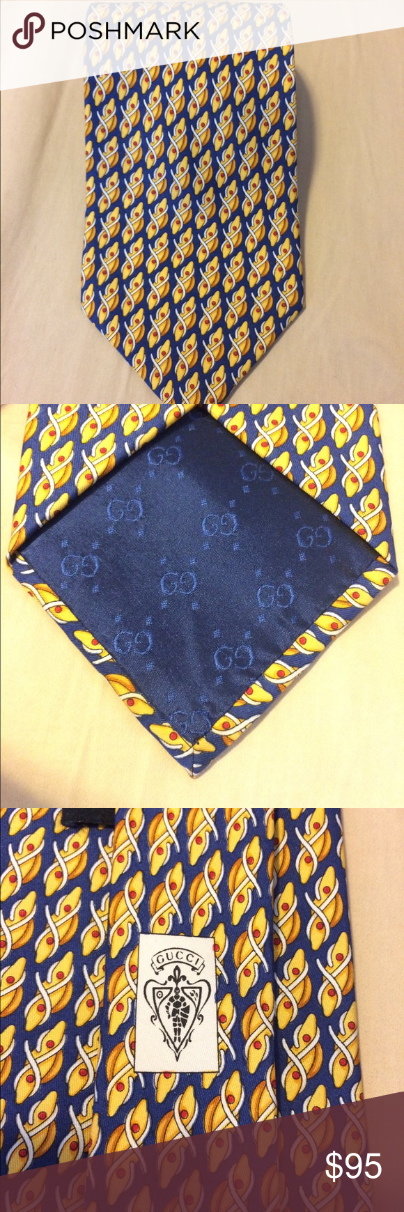 """8eb867df709 Vintage Gucci tie """"cleats rope"""" navy blue yellow NWT only worn once. Please  view photos. Thank you Gucci Accessories Ties"""