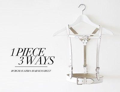 rare bcbg maxazria white leather body harness belt s