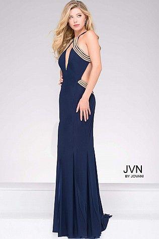 Navy High Slit Halter Neckline Prom Dress with Gold Beading JVN45563 ...