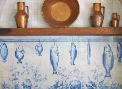 Tiled fish hanging over a stove, Portugal