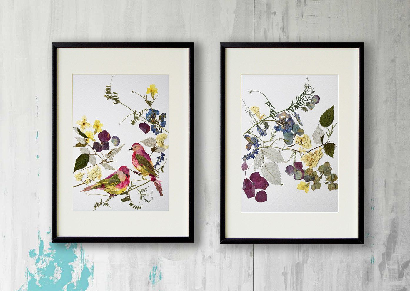 Herbarium Print Set Of 2 Flower Prints Wall Art Botanical Print Dry Flower Artwork Flower Print Dry Flower Pressed Flowers Kitchen Art Pressed Flower Art Flower Artwork Flower Art