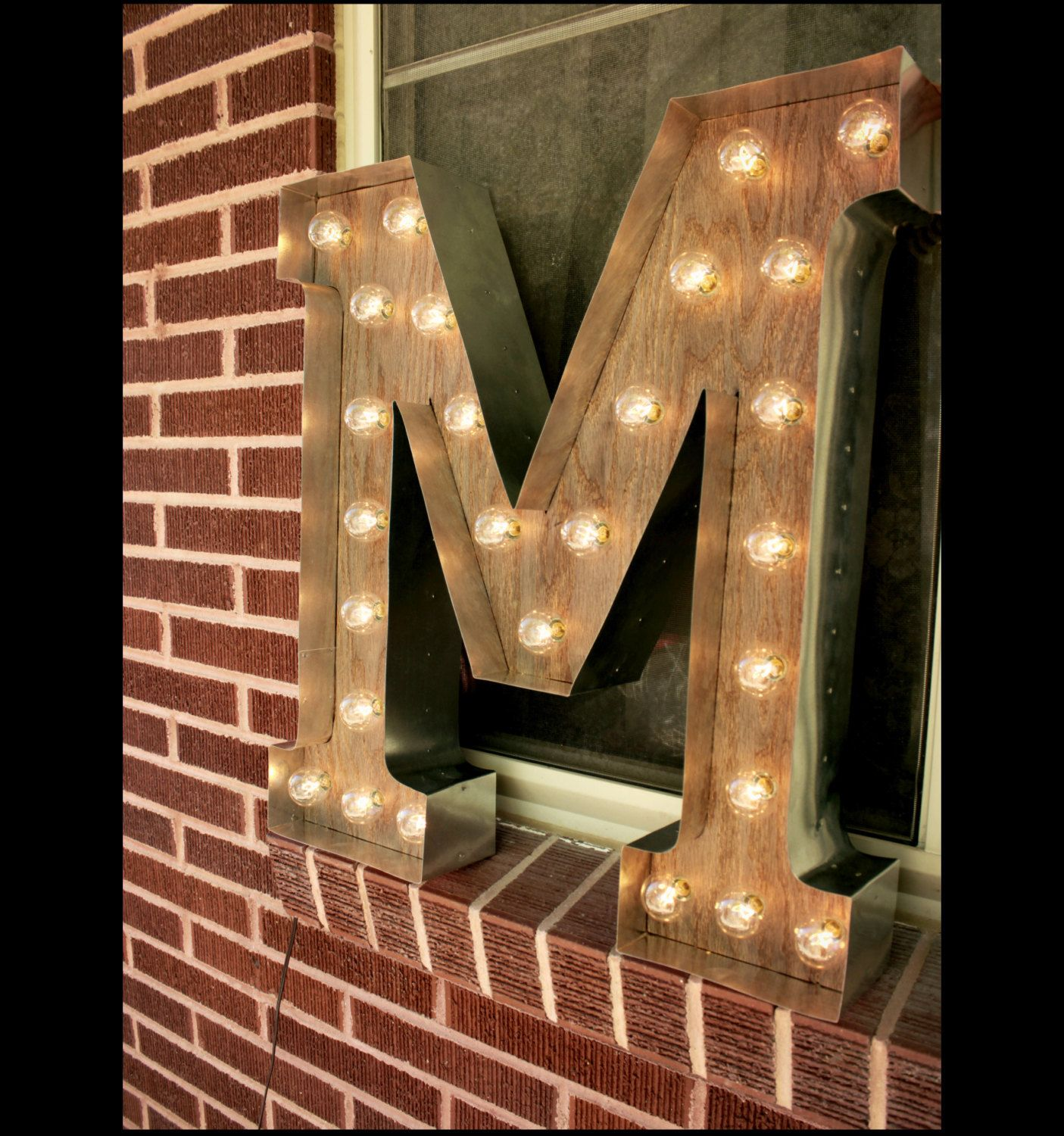 Light Up Letter M Sign Rustic Industrial Marquee Lighting W Metal Distressed Wood Vintage Light Bulb Lett Light Up Letters Rustic Chandelier Rustic Decor