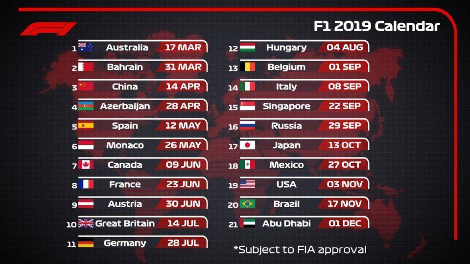 Formula 1 Calendario.Calendario F1 2019 Veci Na Sebe Formula 1 Calendario E