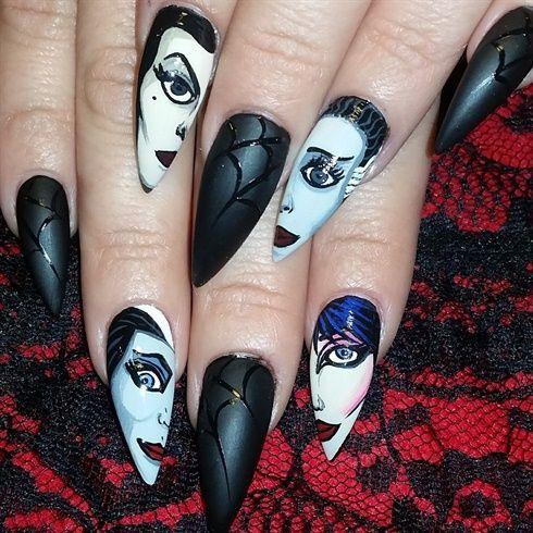 ghoulish nails  edgy nails goth nails halloween nails