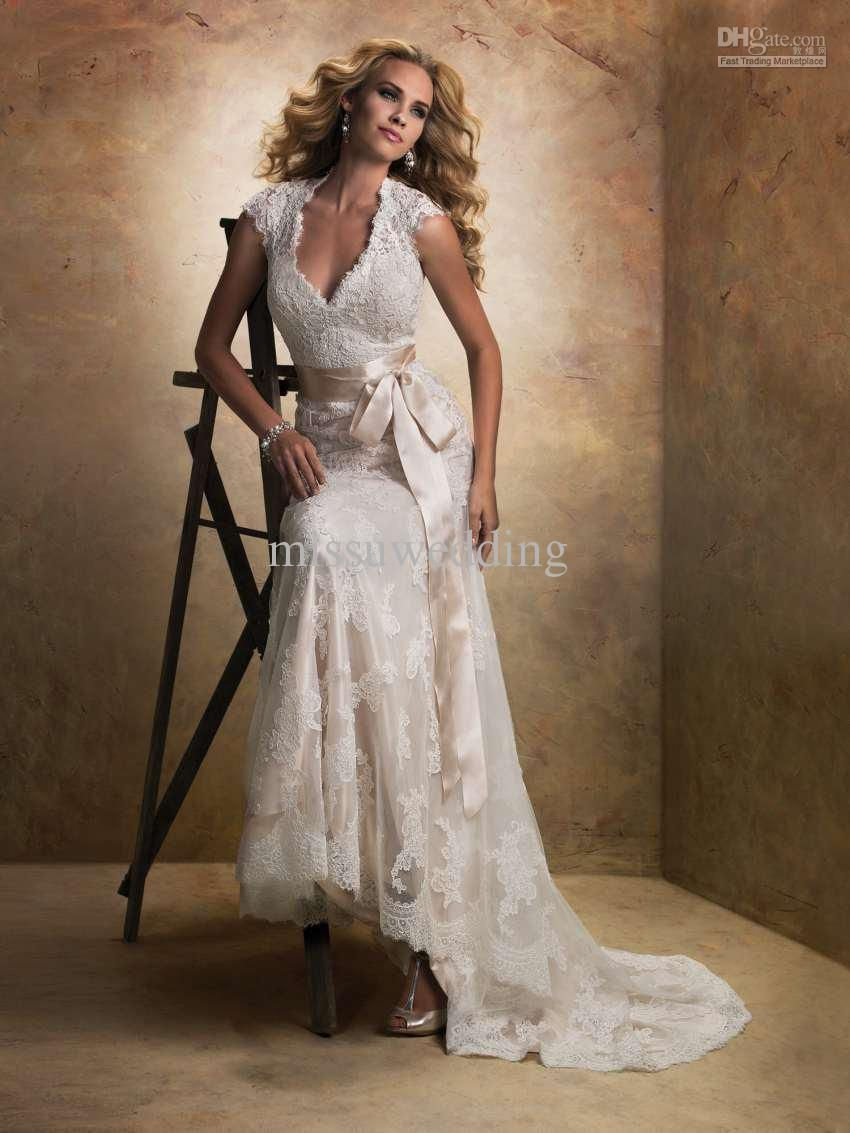 Fancy V Neck Cap Sleeves Lace Open Back Sexy Mermaid Bridal Gowns Trumpet Wedding Dresses 2013 NEw
