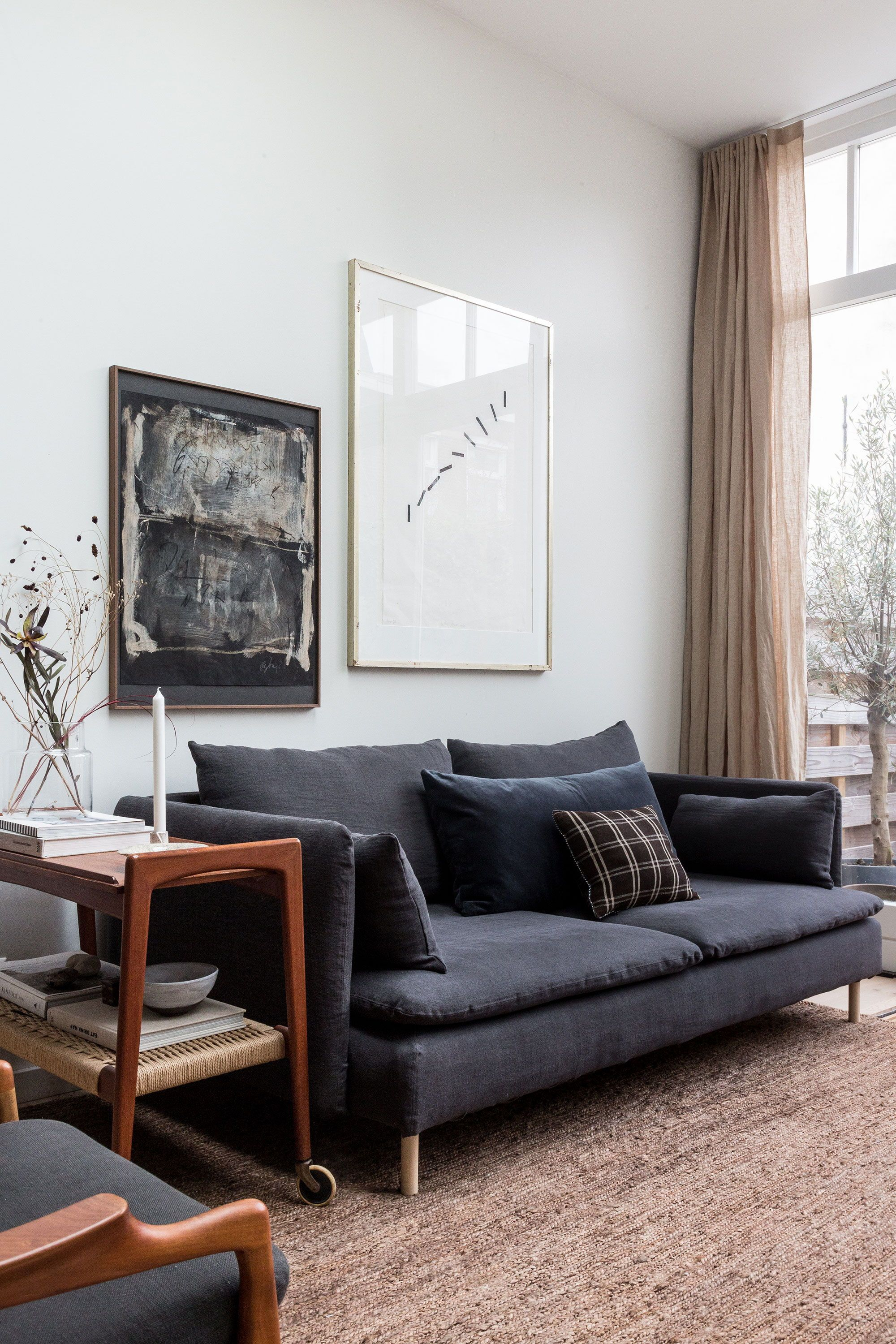 We Love The Mix Of Charcoal Grey Taupe And Dark Wood Accents Holly Of Avenue Design Studio Gave Her Living Room Grey Minimalist Living Room Ikea Living Room