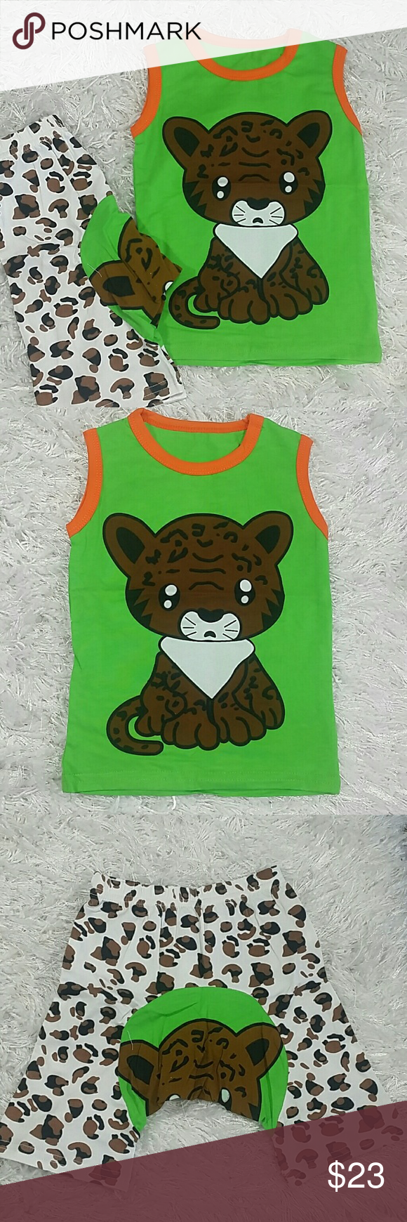 Green Sad Kitty 2 pc set.  Kids Adorable and comfortable 2 pc set of shorts and a matching tee with a cute sad kitty design.  Very cute item.  This item is brand new and never used. Matching Sets