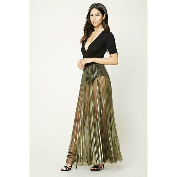 b9667e653a46 Forever21 Metallic Pleated Maxi Skirt (£26) ❤ liked on Polyvore featuring  skirts, long pleated skirt, sheer maxi skirt, accordion pleated skirt, forever  21 ...