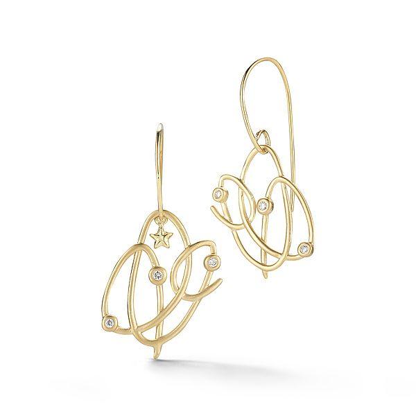 Scribble Astor Earrings: Dana Melnick: Gold & Stone Earrings - Artful Home