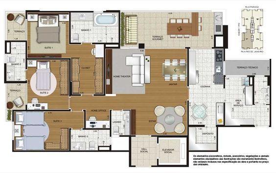 Apartamento Tipo - Planta 3 Suítes e 150m2 Clique para ampliar