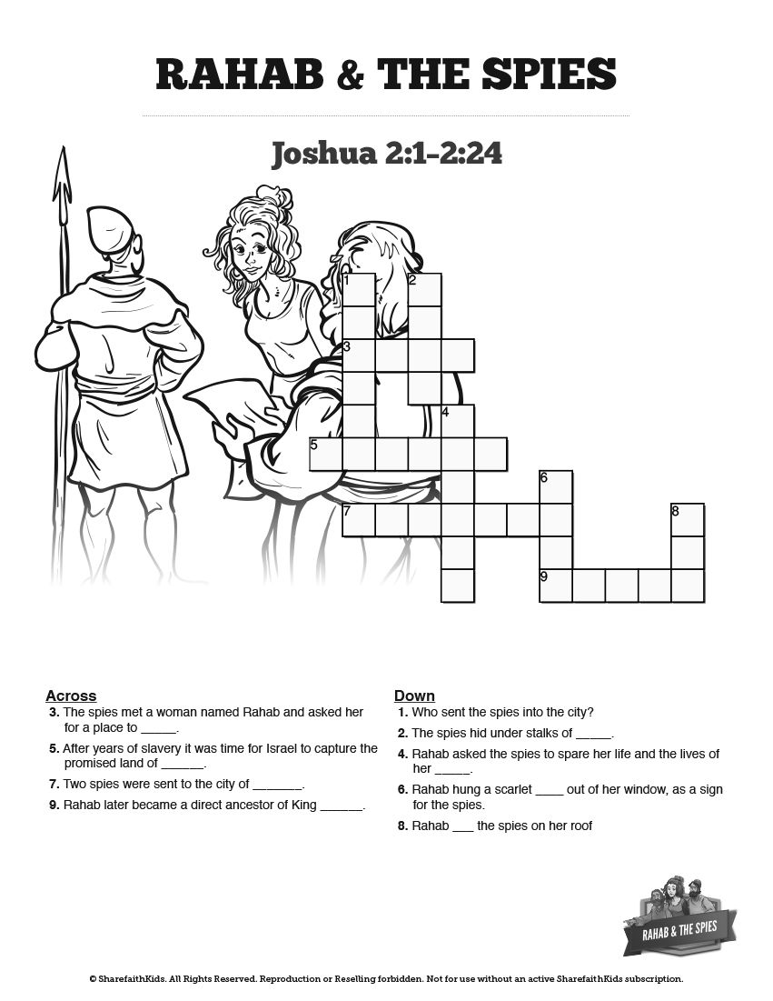 Joshua 2 The Story Of Rahab Sunday School Crossword Puzzles The