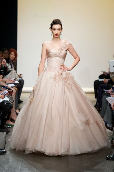 That's it - Ines Di Santo may be the dress maker for me Strapless Silk Gazar gown with translucent bodice and asymmetrical strap at shoulder. Features rouched bust and lace-up detail at back. themarriedapp.com hearted <3