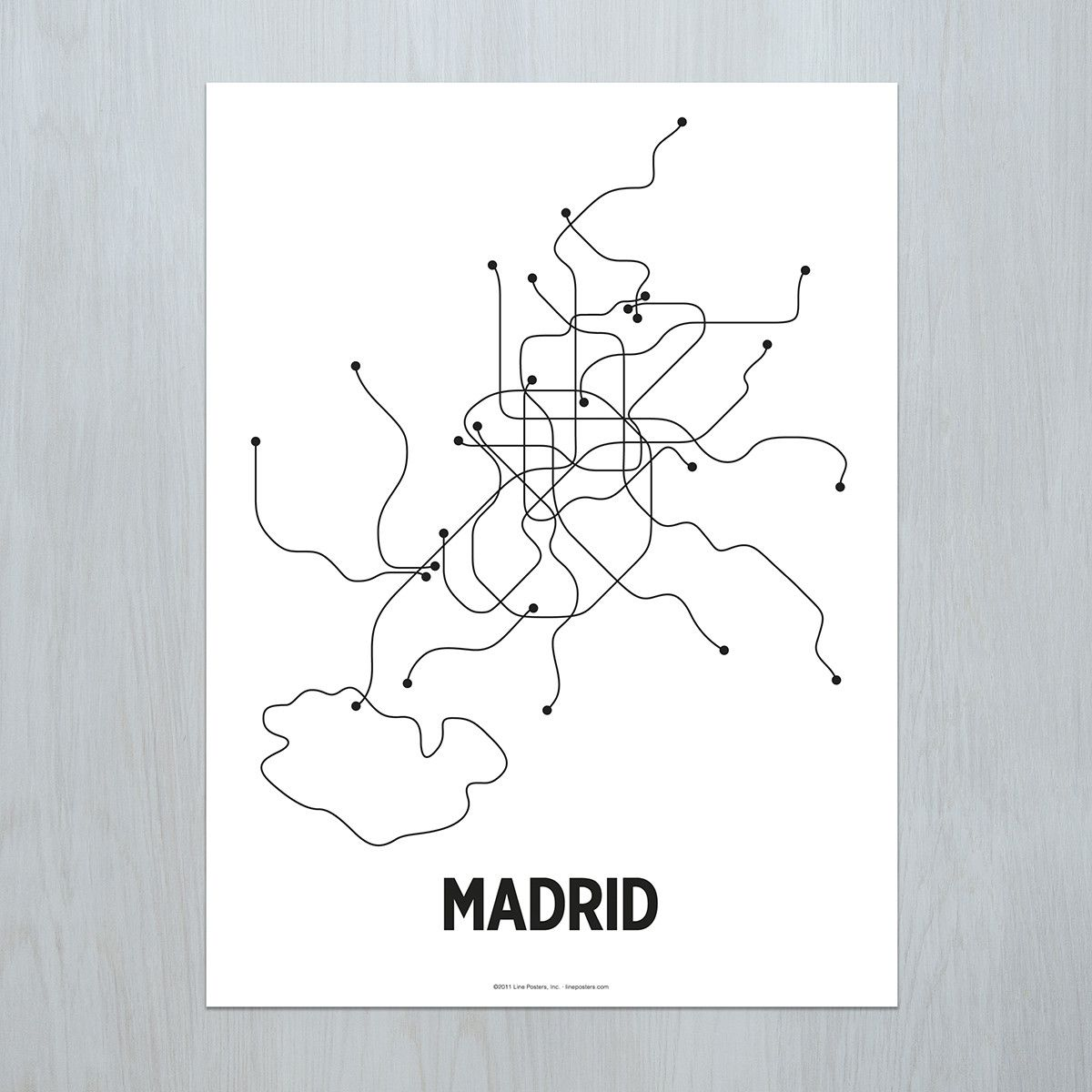 A modern graphic interpretation of the Madrid metro system. Original artwork based on the complete metro map. Standard size for easy and affordable framing. Available as a black & white lithograph or color screen print. Made in Brooklyn, NY. PLEASE NOTE: Orders typically process in 1-3 business days. Those with finishing options may take 5-7 business days.