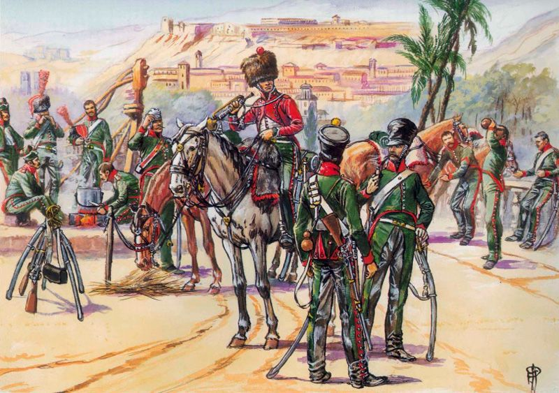 The Chasseurs of the 10th are shown resting at Grenada towards 1819 or 1811