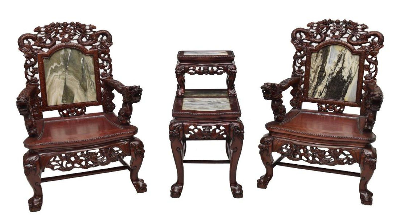 3 Chinese Dragon Rosewood Marble Salon Suite Marble Furniture
