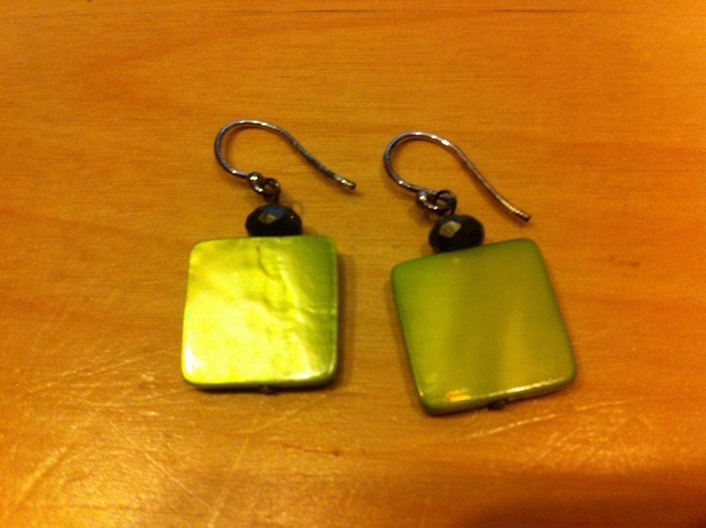 DIY : Silpada W1134 Green Mother-of-Pearl & Pyrite Earrings on French Wires, RETIRED