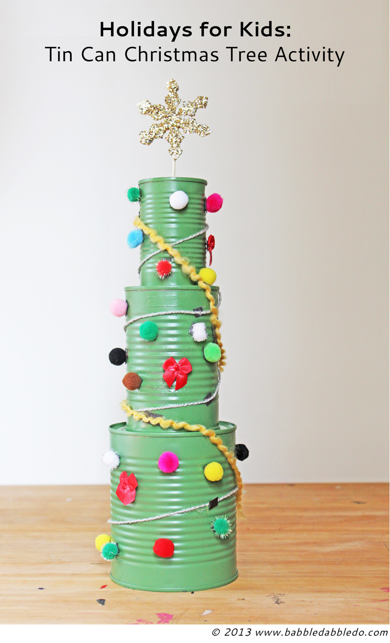 Tin can christmas tree activity christmas tree for Christmas tree decorations you can make at home