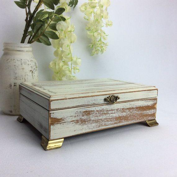 WHITE JEWELRY BOX With Dark Green Velvet Lining by shabbyshores