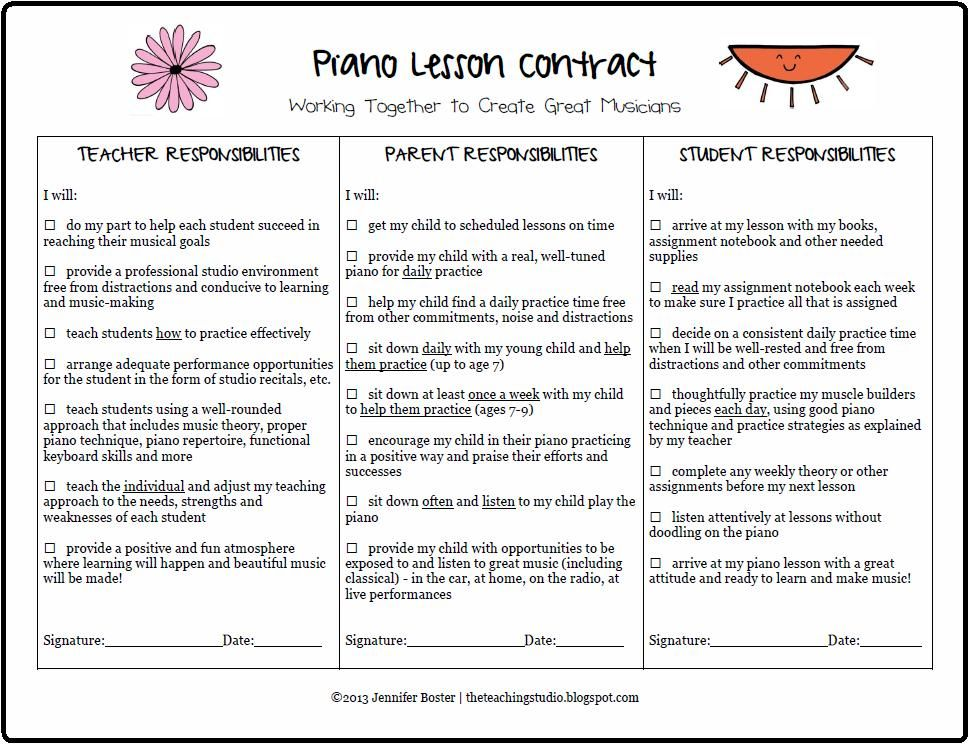 The Teaching Studio Free Printable Piano Lesson Contract piano - music contract template