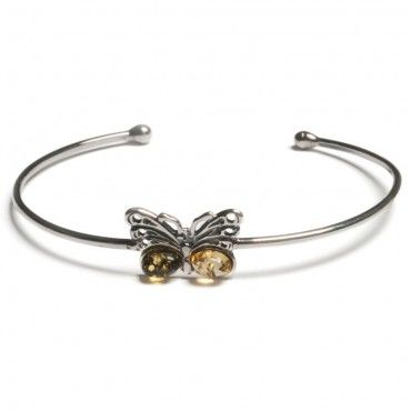 Butterfly SIlver and Amber Bangle Bracelet