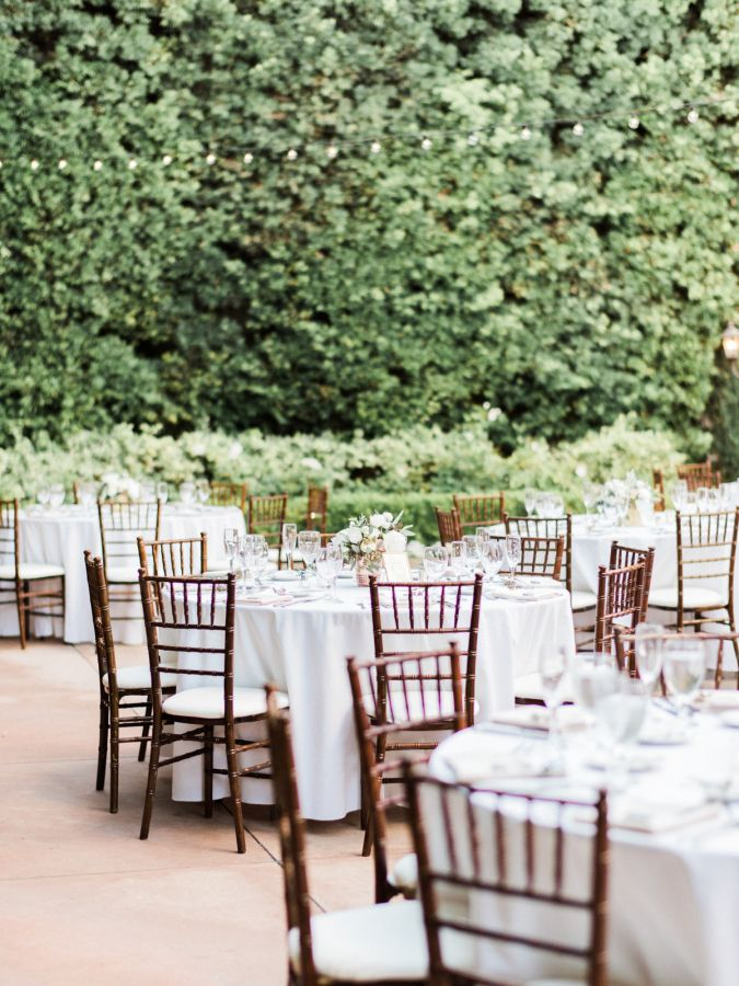 Outdoor Franciscan Garden wedding reception: http://www.stylemepretty.com/2016/09/17/all-white-franciscan-gardens-wedding/ Photography: Ether and Smith - http://etherandsmith.com/