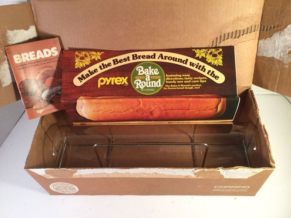 Vintage Pyrex Bake A Round by Corning Bread Baking Pan Tube Box Rack Recipes 990 in Pottery & Glass, Glass, Glassware | eBay