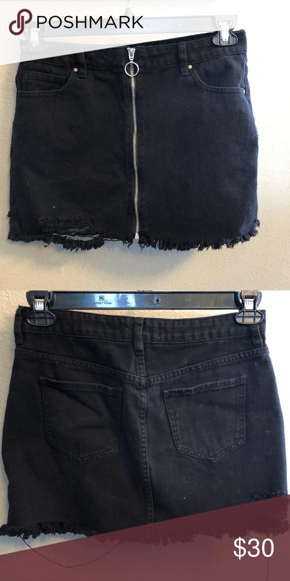 26373f53ec PACSUN miniskirt with zipper Black denim miniskirt with full-length zipper  and distressed detail PacSun Skirts Mini