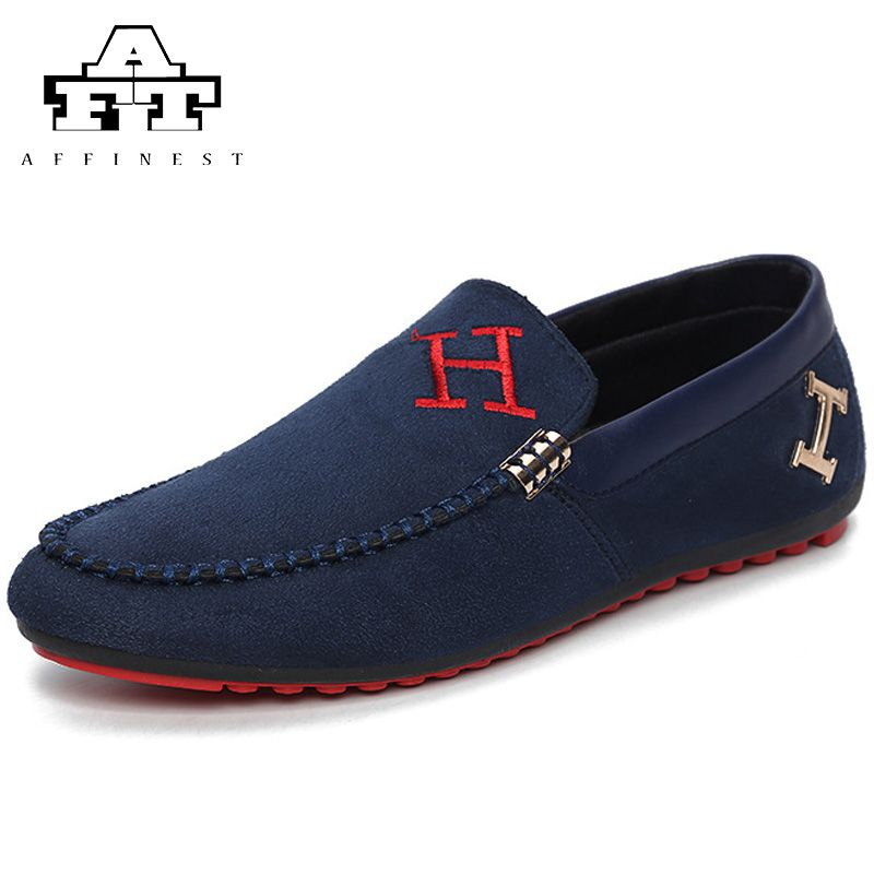 Men's Walking Shoes Suede Leather Slip-On Loafer Casual Driving Shoes