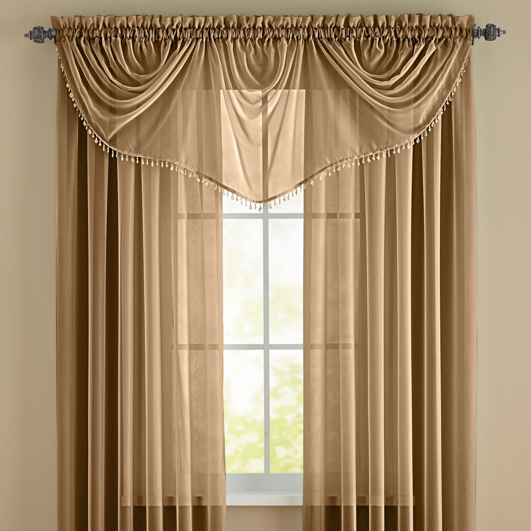 Brylanehome Studio Sheer Voile Beaded Valance