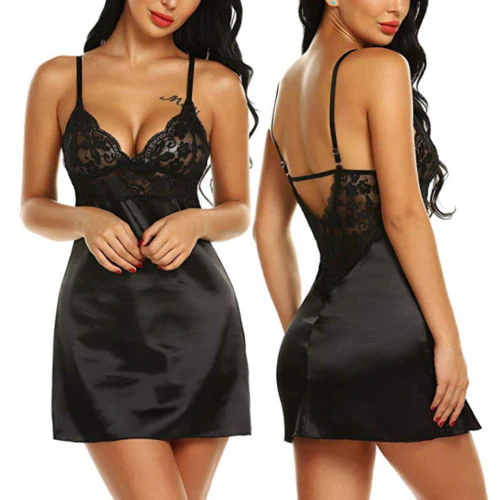 Women Satin Silk Nightdress Nightie Sleepwear Babydoll Lace Strappy Dress Outfit