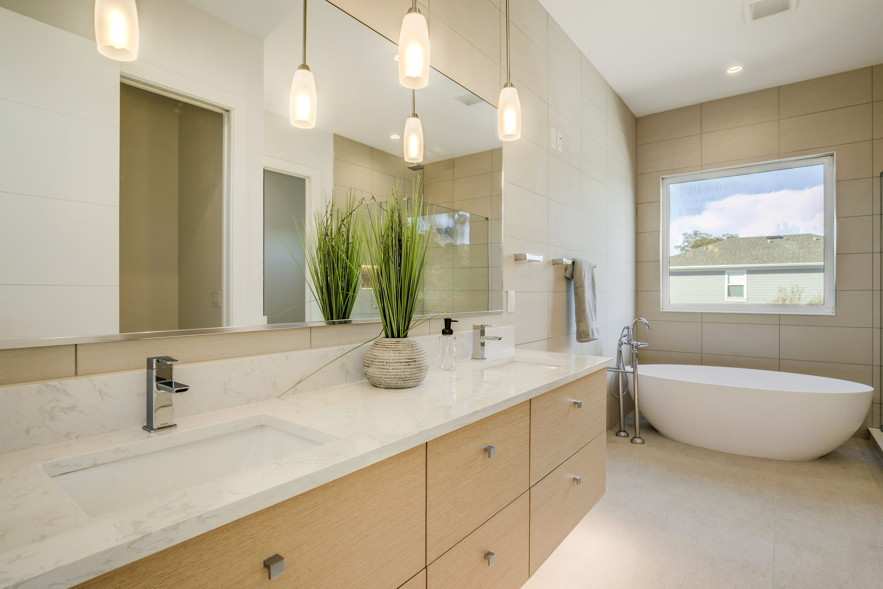 Modern Master Bath With Floating Vanity And Vessel Tub Led