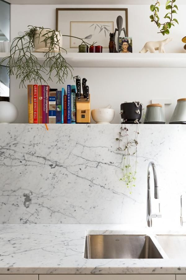 Marble Home Pinterest Marbles, Kitchens and Open shelves