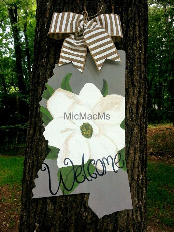 Mississippi Magnolia door hanger/wall sign by MicMacMsWreaths