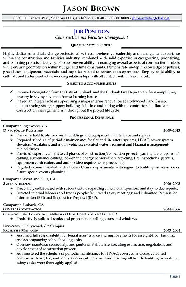 Construction And Facilities Manager Resume  Facility Manager