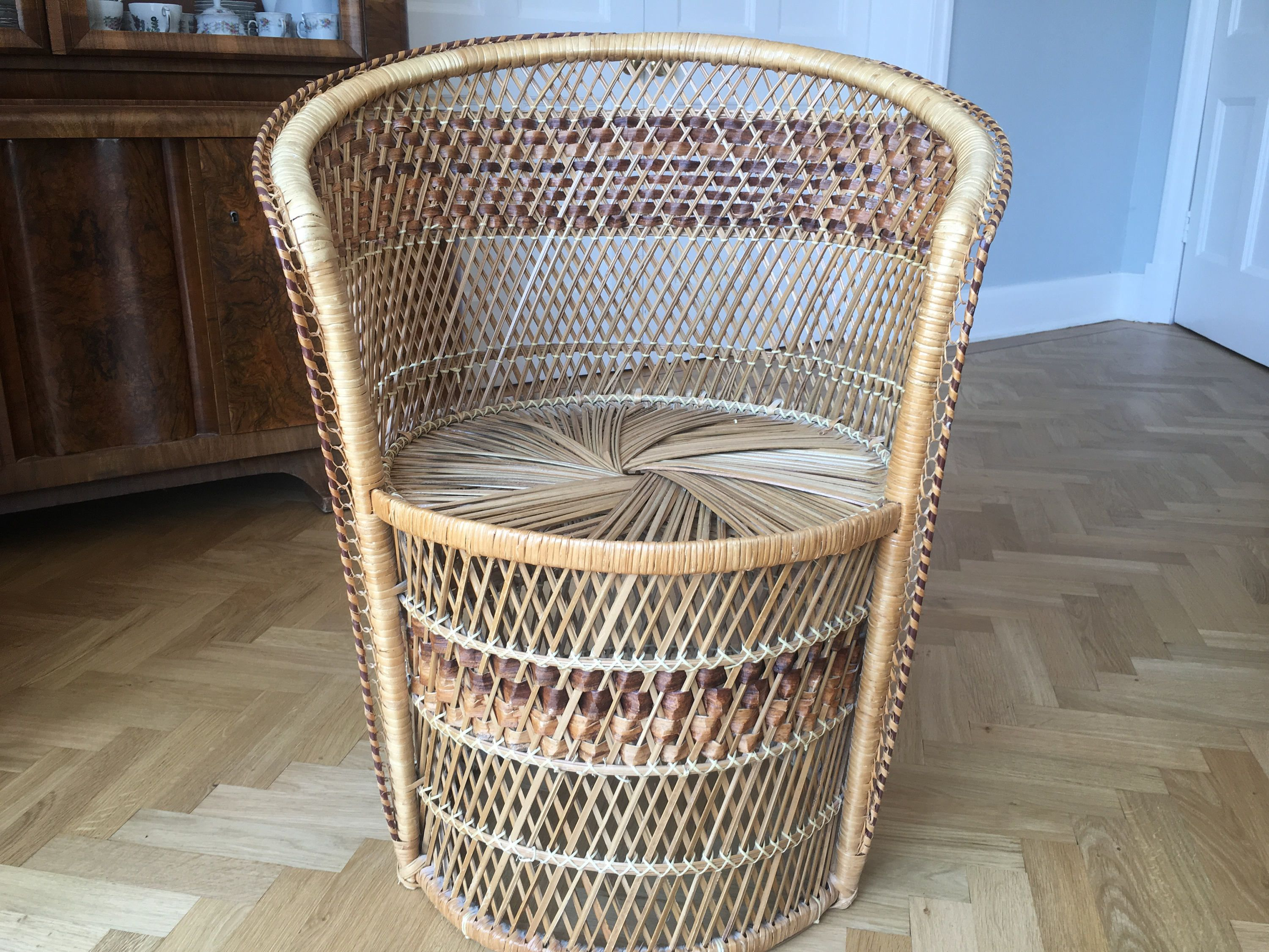Bohemian 1970S Wicker Rattan Patio Chair By Verylastcentury On Etsy